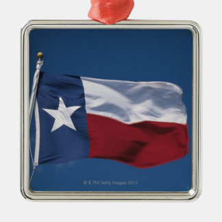 This is the State Flag flying in the wind. it is Silver-Colored Square Decoration