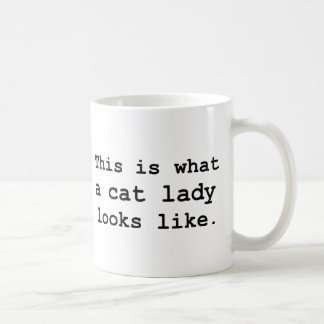 This is what a cat lady looks like. basic white mug