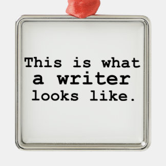 This is what a writer looks like. Silver-Colored square decoration