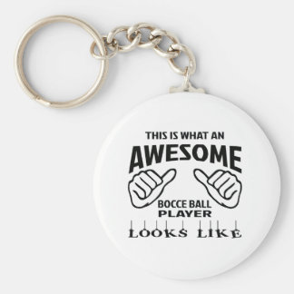 This is what an awesome Bocce ball player looks li Basic Round Button Key Ring