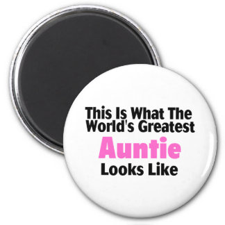 This Is What The World's Greatest Auntie Looks  Li 6 Cm Round Magnet