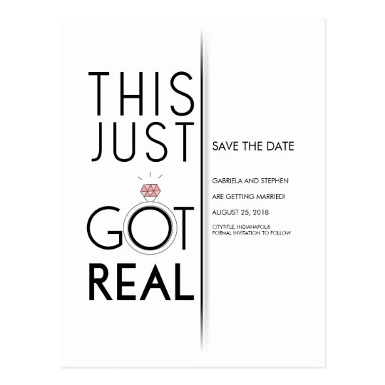 This Just Got Real | Funny Save the Date Postcard