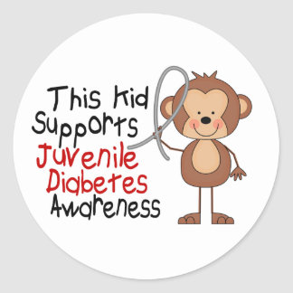 This Kid Supports Juvenile Diabetes Awareness Classic Round Sticker