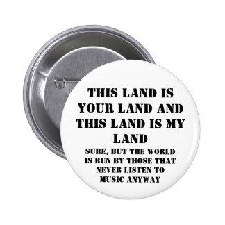 This land is my land 6 cm round badge