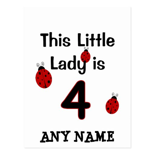 This Little Lady is 4!  Ladybug T-shirt for girls! Post Card