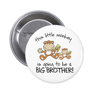 this little monkey big brother 6 cm round badge