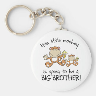 this little monkey big brother basic round button key ring