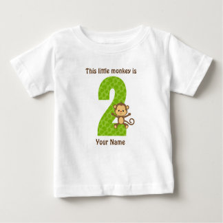 This little monkey is two Baby Fine Jersey T-Shirt