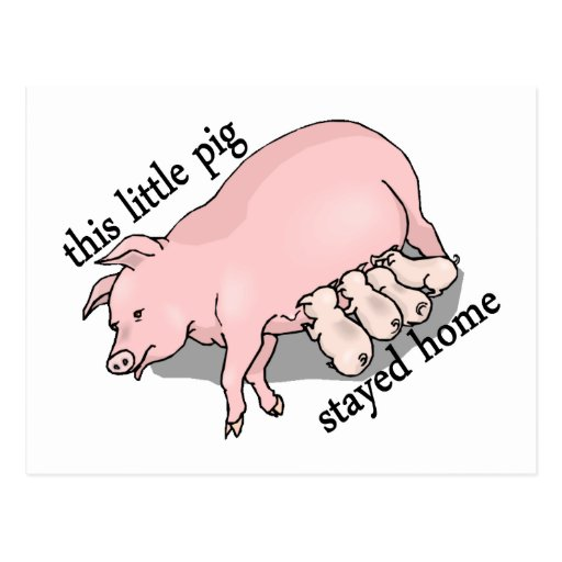 This Little Pig Stayed Home Postcard