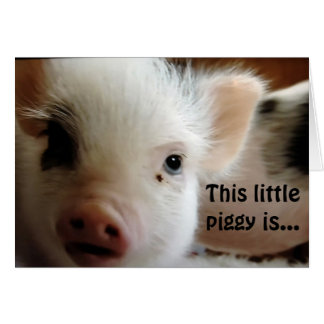 """THIS LITTLE PIGGY IS """"GLAD U R OVER THE HILL"""" CARD"""