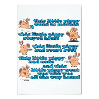 this little piggy nursery rhyme cartoon personalized invitation
