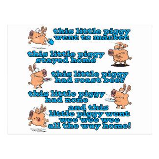 this little piggy nursery rhyme cartoon postcard