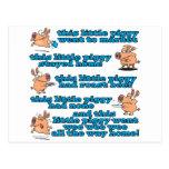 this little piggy nursery rhyme cartoon postcards