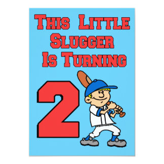 This Little Slugger Is Turning 2 Baseball Theme Card