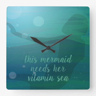 This Mermaid needs her Square Wall Clock
