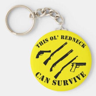 This Ol' Redneck Can Survive Basic Round Button Key Ring