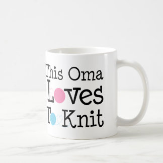 This Oma Loves To Knit Gift Basic White Mug