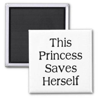 This Princess Saves Square Magnet