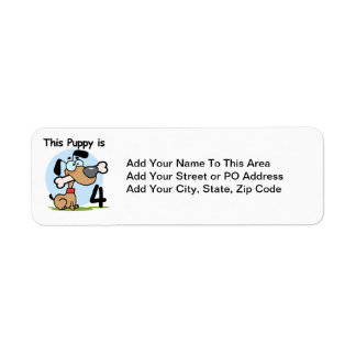 This Puppy 4th Birthday Tshirts and Gifts Return Address Label