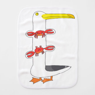 This seagull  . . . eats crabs burp cloth