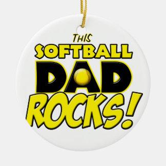 This Softball Dad Rocks copy.png Round Ceramic Decoration