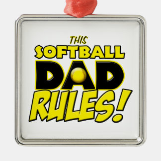 This Softball Dad Rules copy.png Silver-Colored Square Decoration