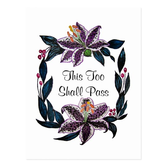 """This Too Shall Pass"" Watercolor Lily Wreath Postcard"