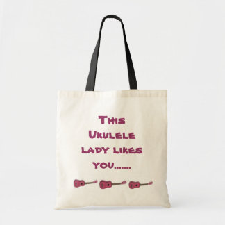 This ukulele lady likes you tote budget tote bag