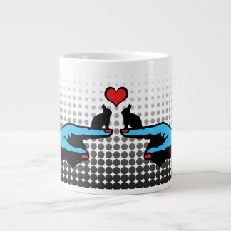 THIS WAY BUNNY Love 'You Me' Strange Cute Rabbits Large Coffee Mug