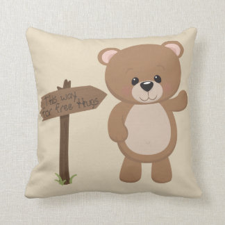 This Way For Free Hugs Teddy Bear Cushion