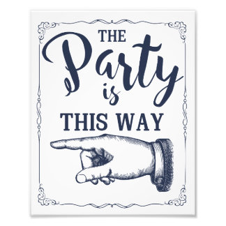 This way party wedding sign left arrow photo