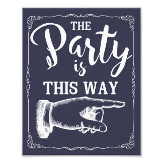 This way party wedding sign right arrow navy photo art