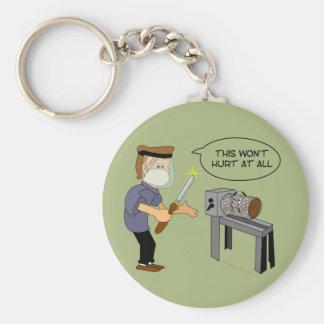 This Won't Hurt Funny Woodturning Cartoon Basic Round Button Key Ring
