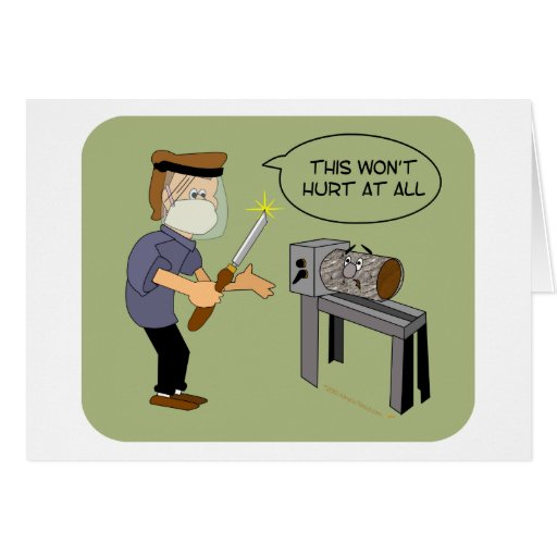 This Won't Hurt Funny Woodturning Cartoon Cards