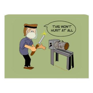 This Won't Hurt Funny Woodturning Cartoon Postcard