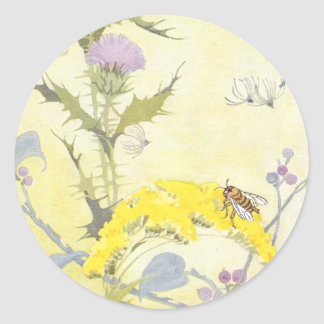 Thistle and Bee on Goldenrod Classic Round Sticker