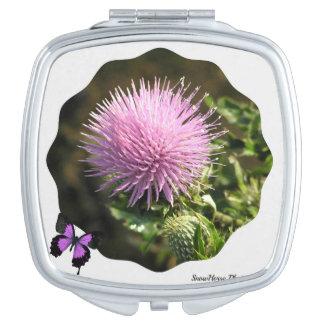 Thistle Bloom ~ Pocket Mirror Travel Mirrors