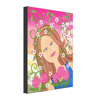 Thistle Blossom - 16x20 Fairy Girl Kids Wall Art Stretched Canvas Prints