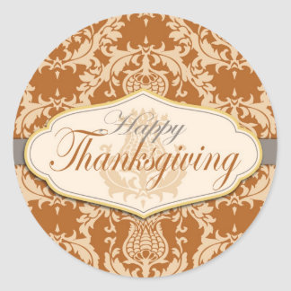 Thistle Damask Thanksgiving Classic Round Sticker