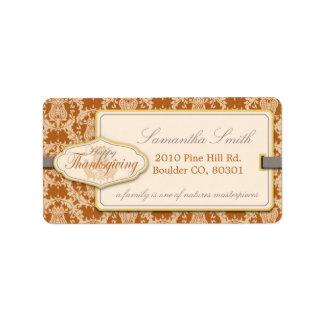 Thistle Damask Thanksgiving Address Label
