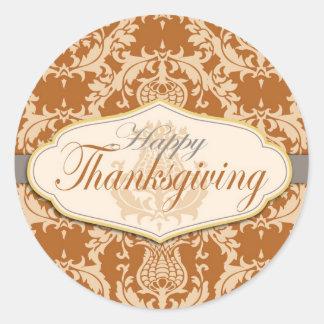 Thistle Damask Thanksgiving Round Sticker