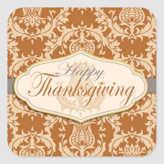 Thistle Damask Thanksgiving Square Sticker