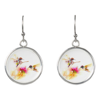 """Thistle for Two"" Hummingbird Print Earrings"
