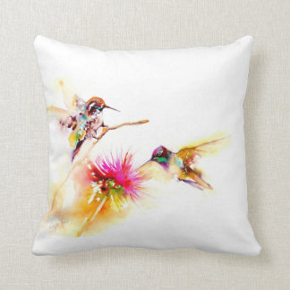 """Thistle for Two"" Hummingbird Print on Cushion"