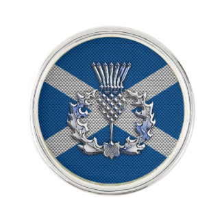 Thistle on Carbon Fiber Print on Scotland Flag Lapel Pin