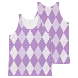 Thistle Purple Argyle Pale Violet Small Diamond All-Over Print Tank Top