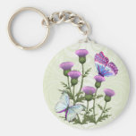 Thistles and Butterflies Basic Round Button Key Ring
