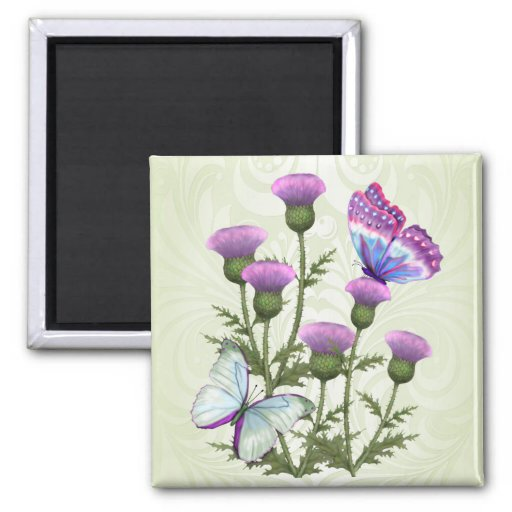 Thistles and Butterflies Refrigerator Magnets