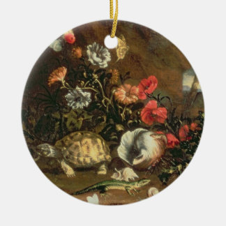 Thistles, flowers, reptiles and butterflies beside christmas ornament