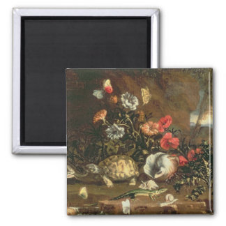 Thistles, flowers, reptiles and butterflies beside square magnet